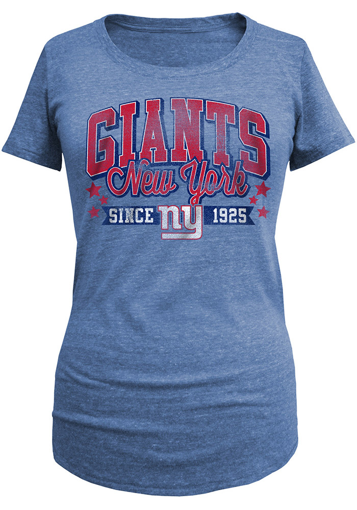 New York Giants Womens Blue Triblend Short Sleeve Scoop - Image 1