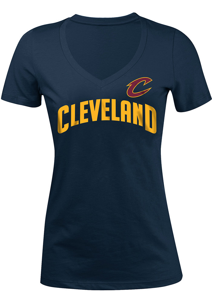 Cleveland Cavaliers Womens Navy Blue Baby Jersey V-Neck T-Shirt - Image 1
