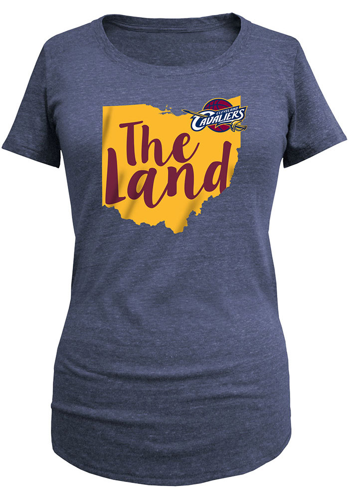 Cleveland Cavaliers Womens Navy Blue Tri-blend Short Sleeve Scoop - Image 1
