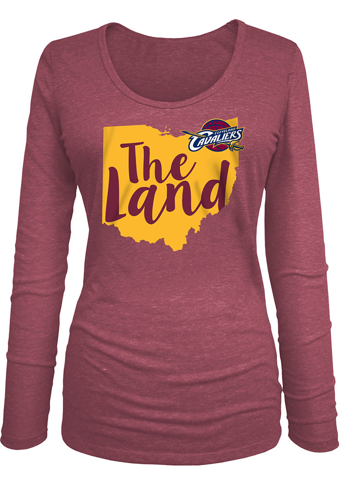 Cleveland Cavaliers Womens Maroon Tri-blend Long Sleeve Women's Scoop - Image 1