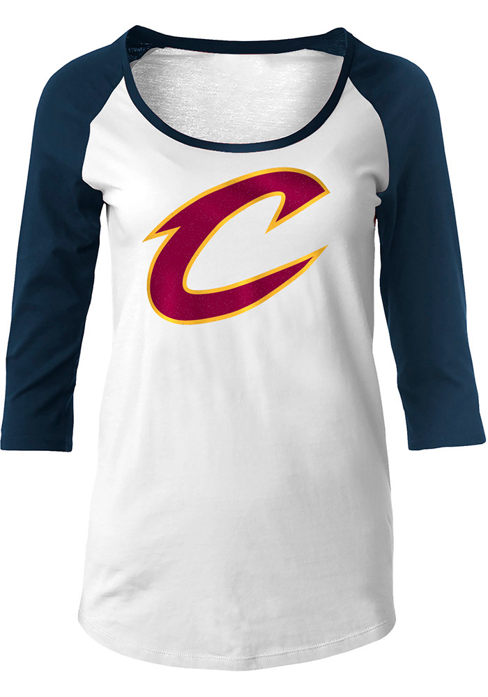 Cleveland Cavaliers Womens White Glitter Long Sleeve Scoop Neck - Image 1