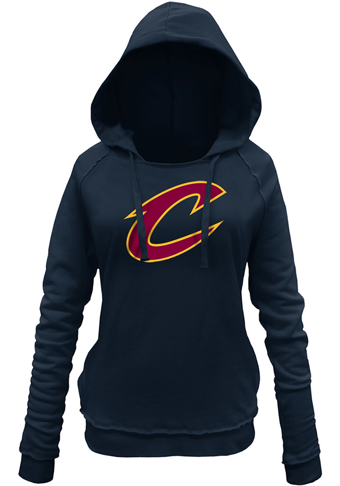 0710f4503 Cleveland Cavaliers Womens Navy Blue Glitter Hooded Sweatshirt - Image 1
