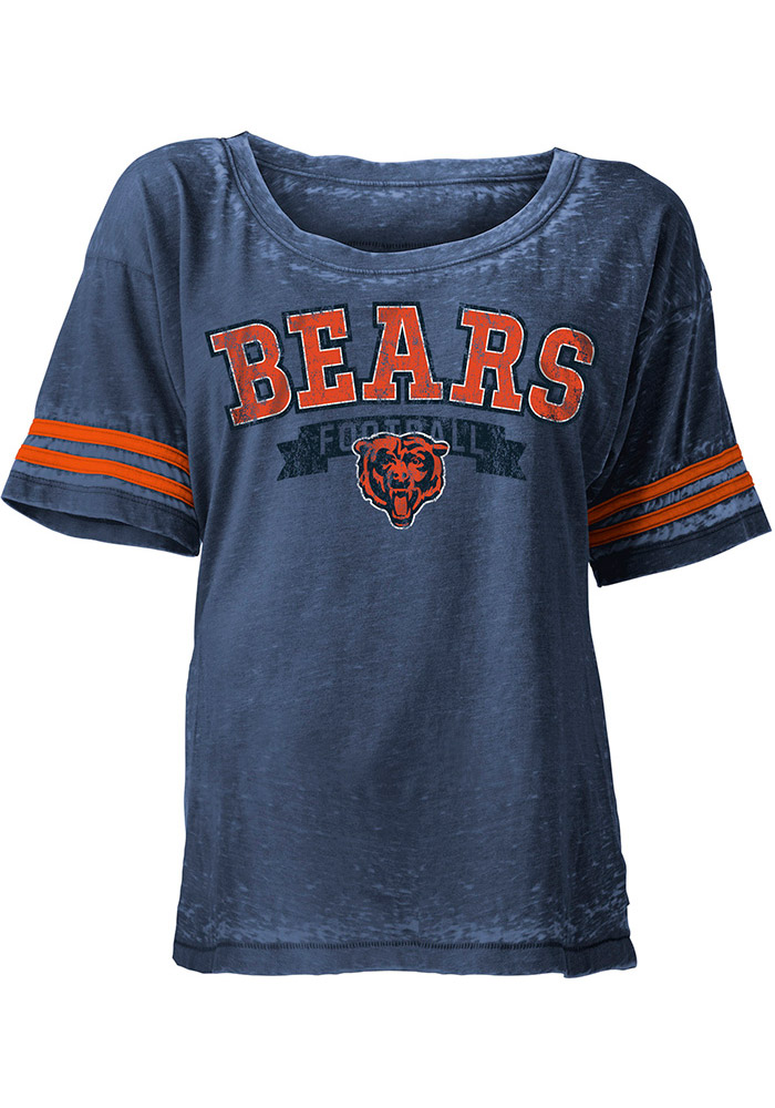 Chicago Bears Womens Navy Blue Washes Short Sleeve Scoop - Image 1