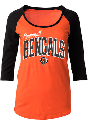 Cincinnati Bengals Womens Athletic Orange Scoop Neck Tee