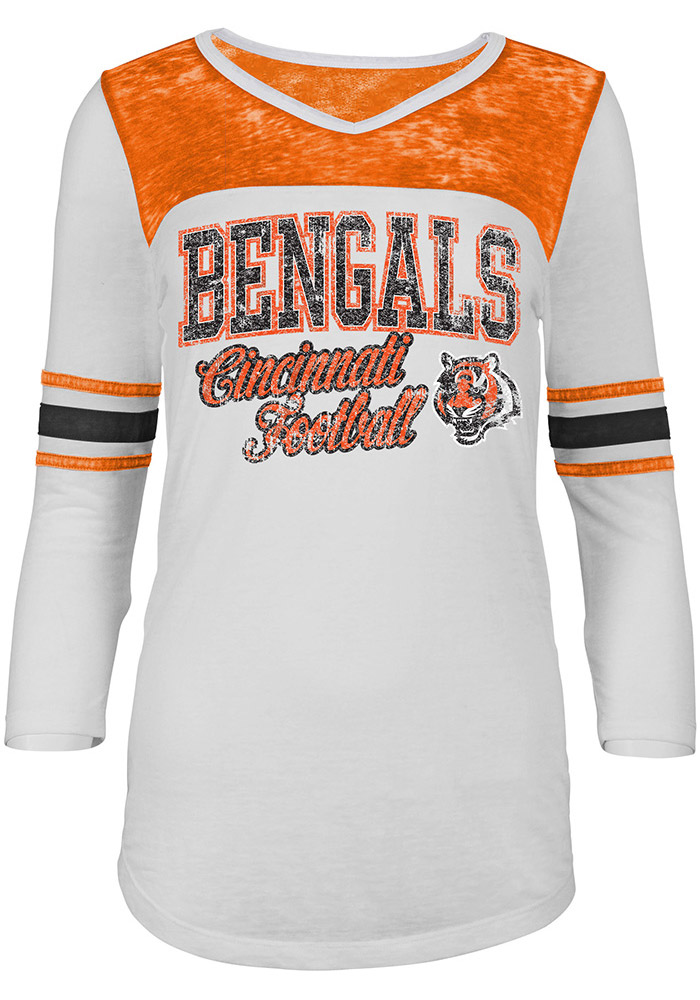 Cincinnati Bengals Womens White Washes Long Sleeve T-Shirt - Image 1