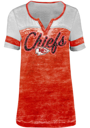 Kansas City Chiefs Womens Washes Red Scoop T-Shirt