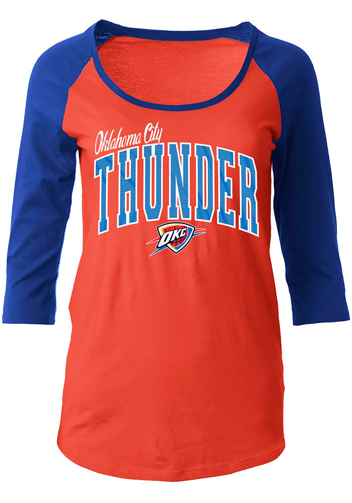 OKC Womens Orange Athletic Long Sleeve Scoop Neck - Image 1