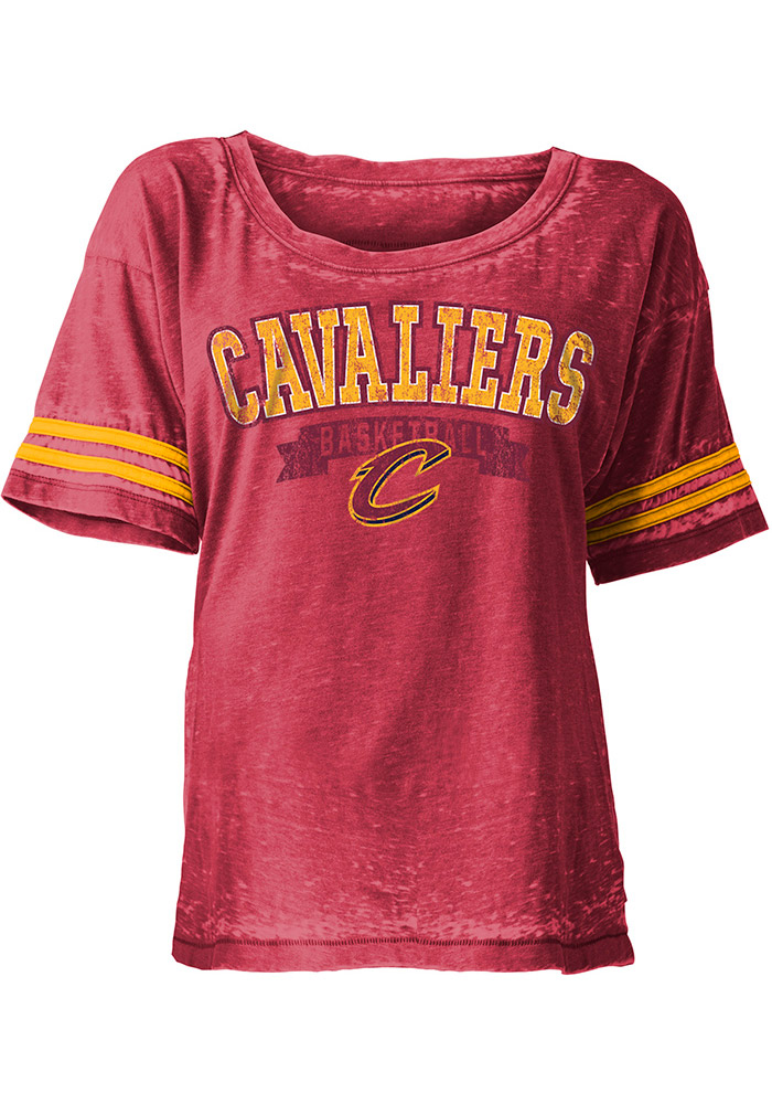 Cleveland Cavaliers Womens Red Washes Short Sleeve Scoop - Image 1