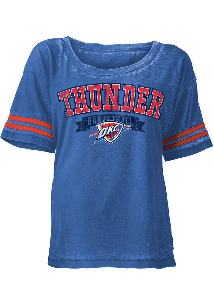 Oklahoma City Thunder Womens Blue Washes Short Sleeve Scoop - Image 1
