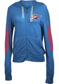 san francisco e5990 c7d77 Oklahoma City Thunder Womens Blue Novelty Full Zip Jacket