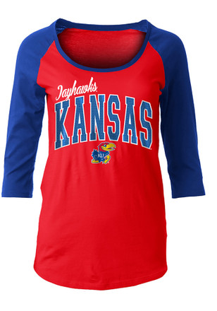 Kansas Jayhawks Womens Athletic Raglan Red Scoop Neck Tee