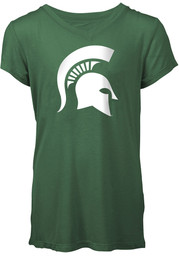 Michigan State Spartans Girls Green Foil Short Sleeve Tee
