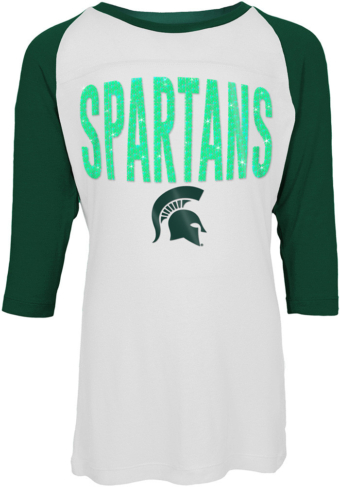 Michigan State Spartans Girls Green Sequin Long Sleeve T