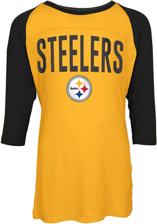 Pittsburgh Steelers Girls Gold Sequin Long Sleeve T-shirt