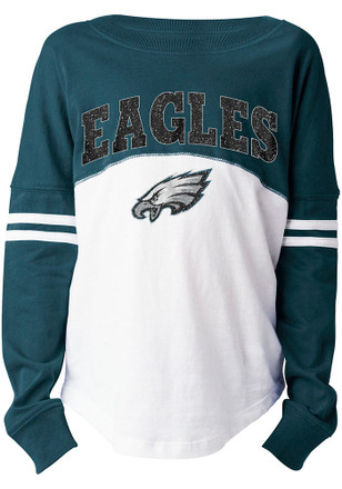 Philadelphia Eagles Girls Teal Varsity Long Sleeve T-shirt