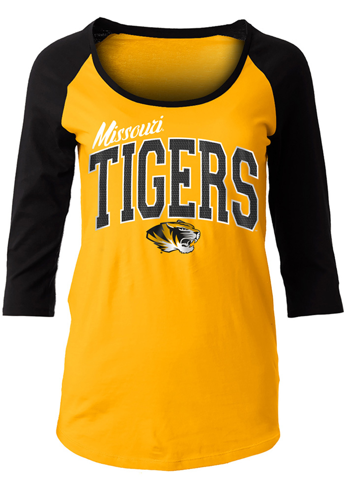 Missouri Tigers Womens Athletic Raglan Black Scoop Neck Tee