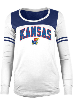 Kansas Jayhawks Womens Chennile White Scoop Neck Tee