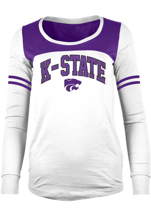 K-State Wildcats Womens Chennile White Scoop Neck Tee