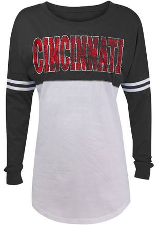 Cincinnati Bearcats Womens Athletic Stripe Black T-Shirt