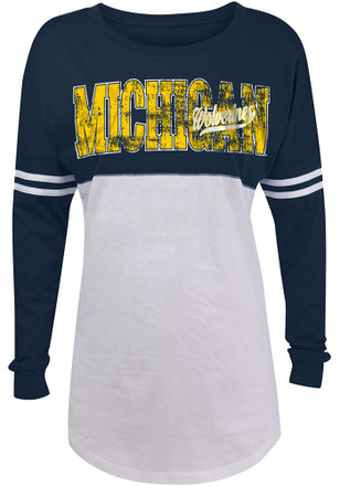 Michigan Wolverines Womens Athletic Stripe Navy Blue T-Shirt