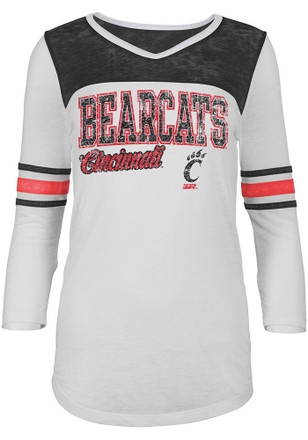 Cincinnati Bearcats Womens White Burnout Football T-Shirt