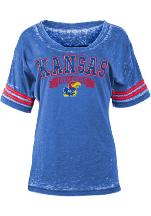 Kansas Jayhawks Womens Burnout Sleeve Stripe Blue Scoop T-Shirt