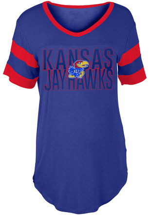 Kansas Jayhawks Womens Blue Boyfriend Sleeve Stripes T-Shirt