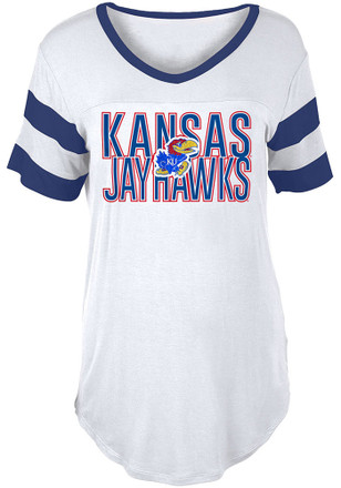 Kansas Jayhawks Womens Boyfriend Sleeve Stripes White Scoop T-Shirt