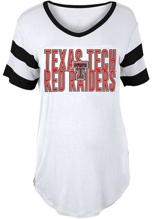 Texas Tech Red Raiders Womens White Boyfriend Sleeve Stripes T-Shirt