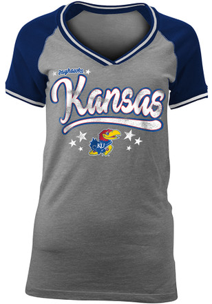 Kansas Jayhawks Womens Grey Vintage Raglan V-Neck