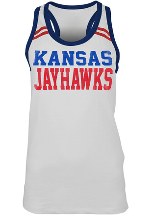 Kansas Jayhawks Womens White Slub Sequin Tank Top