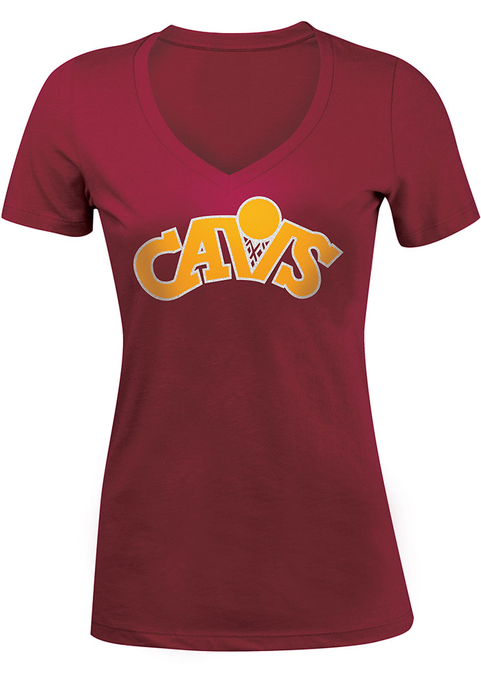 Cleveland Cavaliers Womens Red Hardwood Classic V-Neck T-Shirt - Image 1