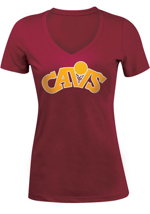 Cleveland Cavaliers Womens Red Hardwood Classic V-Neck