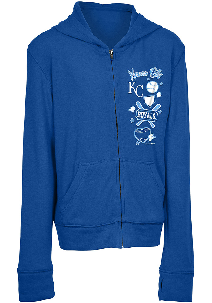 Kansas City Royals Girls Blue Pop Star Long Sleeve Full Zip Jacket - Image 1
