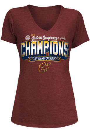 Cleveland Cavaliers Womens Maroon 2017 Conference Champions V-Neck