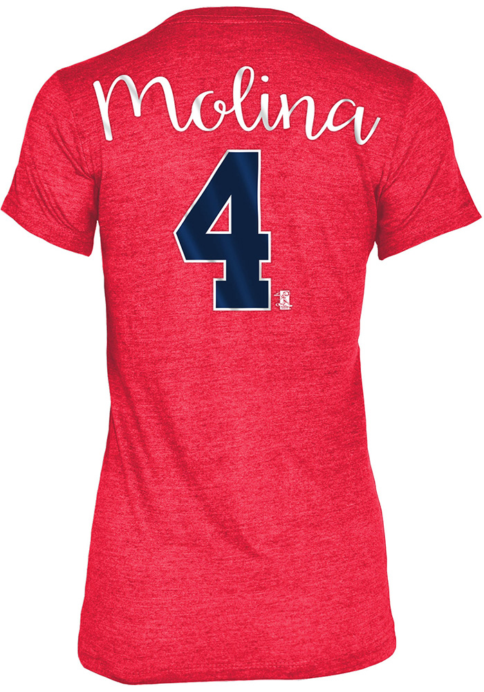Yadier Molina St Louis Cardinals Womens Grey Tri-Blend Player T-Shirt - Image 1