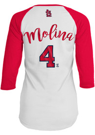Yadier Molina St Louis Cardinals Womens Baby Jersey Long Sleeve T-Shirt - White