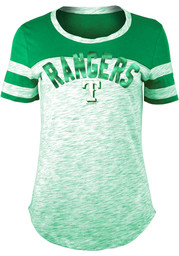 Texas Rangers Womens Space Dye St. Pats Day Kelly Green Scoop T-Shirt