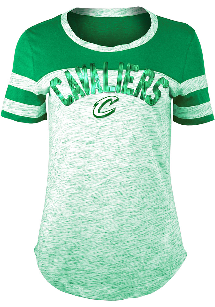 Cleveland Cavaliers Womens Kelly Green Space Dye St. Pat's Day Scoop T-Shirt - Image 1
