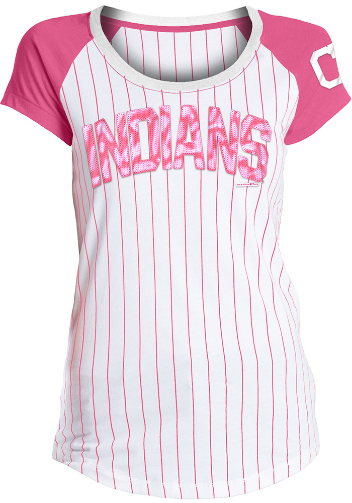 Cleveland Indians Womens White Pinstripe Sequin Scoop T-Shirt - Image 1