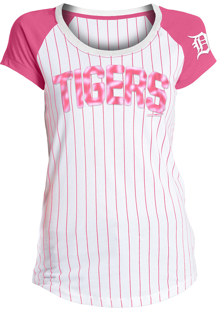 Detroit Tigers Womens White Pinstripe Sequin Scoop T-Shirt - Image 1