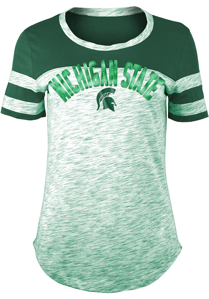 Michigan State Spartans Womens Space Dye Sleeve Stripes Green Scoop T-Shirt
