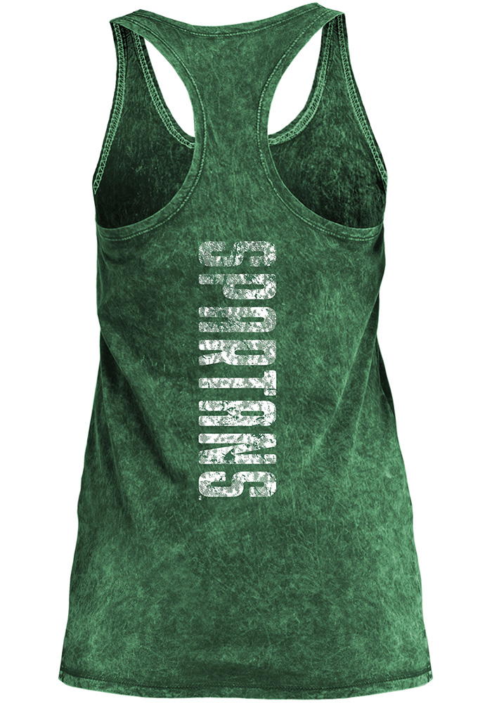 Michigan State Spartans Womens Green Mineral Wash Tank Top - Image 2