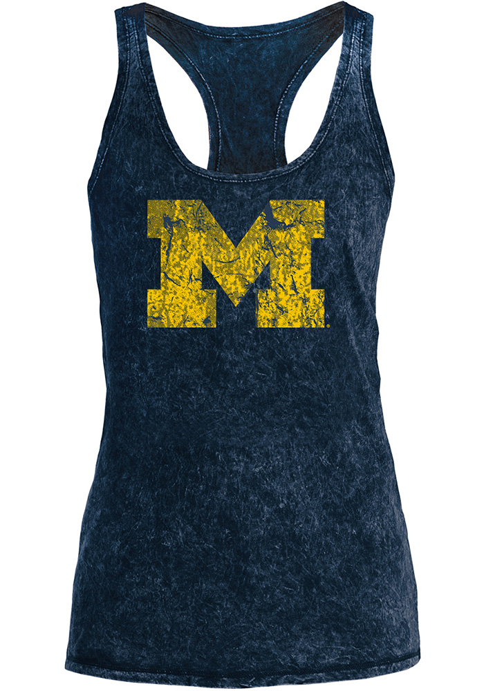 Michigan Wolverines Womens Navy Blue Mineral Wash Tank Top