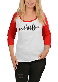 Kansas City Chiefs Womens Raglan White Scoop Neck Tee
