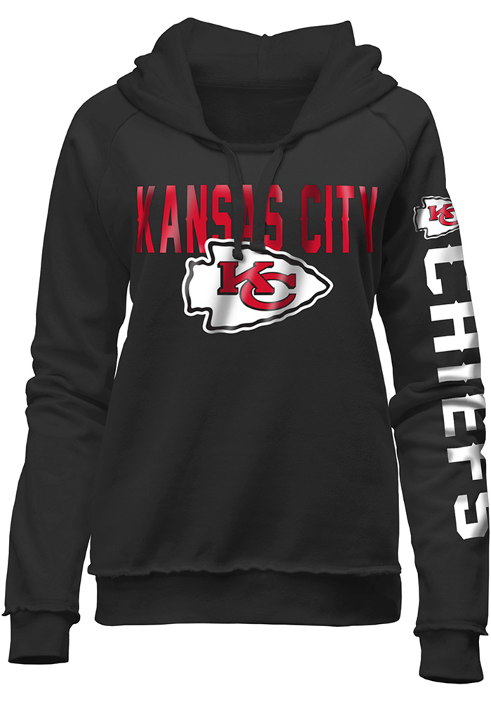 Kansas City Chiefs Womens Black Brushed Fleece Hooded Sweatshirt - Image 1