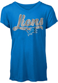 Detroit Lions Girls Blue Shine Fashion T-Shirt
