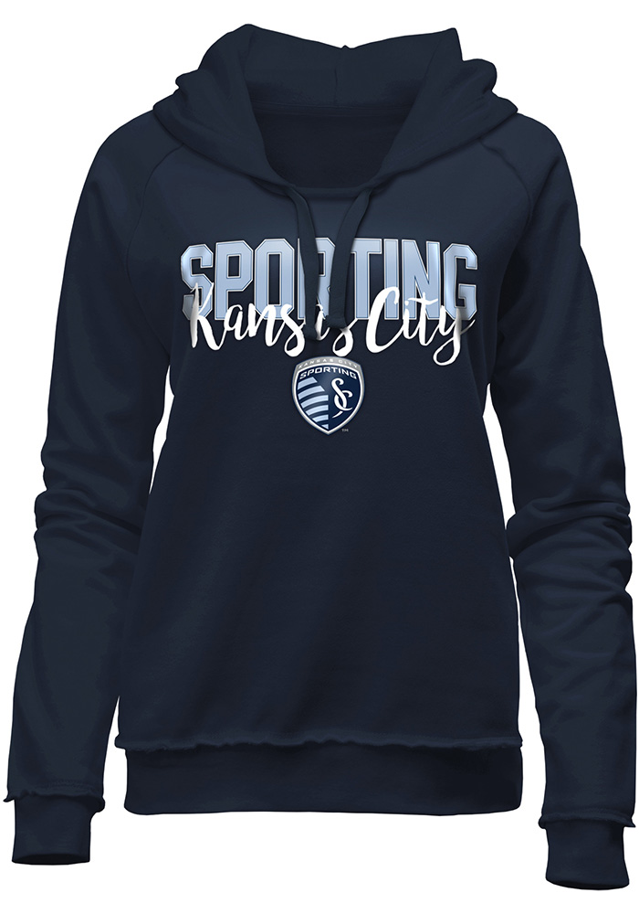 Sporting Kansas City Womens Navy Blue Brushed Fleece Hooded Sweatshirt - Image 1