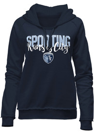 Sporting Kansas City Womens Brushed Fleece Hooded Sweatshirt - Navy Blue