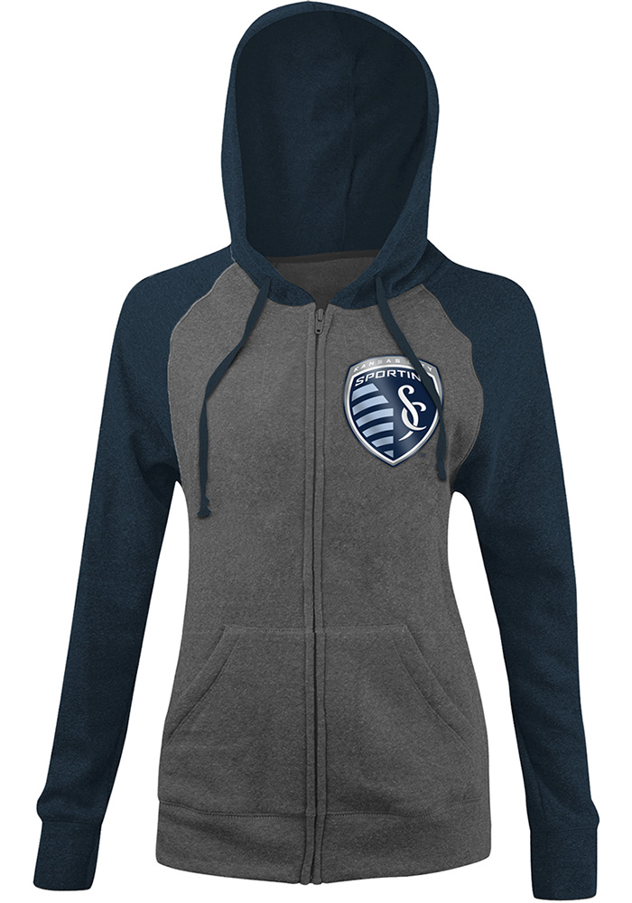 Sporting Kansas City Womens Grey Foil Long Sleeve Full Zip Jacket - Image 1